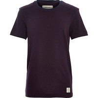 River Island Boys purple shoulder patch t-shirt