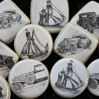 Hand-Sketched Vintage Car and Ship Cookies » Craftori