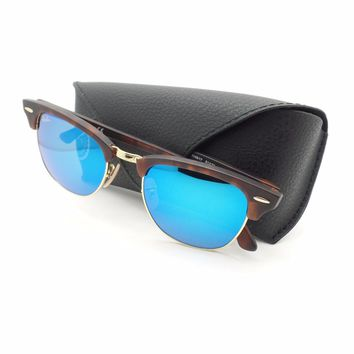 Ray Ban Clubmaster 3016 1145/17 Sand Havana Blue Mirror New Authentic Sunglasses