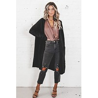 Free Falling Black Long Cardigan