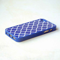 Royal Blue Quatrefoil Personalized Phone Case Song, Rubber Silicone Custom iPhone Case, Geometric Phone Case