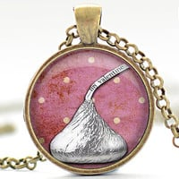 Chocolate Kiss Necklace, Valentines Day Charm, Love Pendant, Heart Jewelry, Your Choice of Finish (1345)