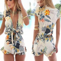 Fashion New Women Sexy Flouncing Romper Straps Print Overall Jumpsuit