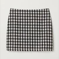 Textured-weave Skirt - Black checked/glitter - Ladies | H&M US