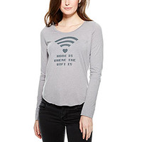 Home Is Where The Wifi Is Long-Sleeve Top - Light Grey