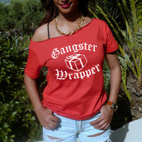 Gangster wrapper holiday shirt funny Christmas women slouchy off the shoulder top rap grunge thug wife oversized shirt