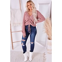Genuine Love Ruched Front Sweater (Mauve)