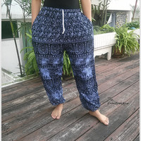 Blue Elephant Boho Yoga Pants Baggy Boho Style Print Hippie Gypsy Tribal Plus Size Aladdin Clothing Beach Casual Gift Rayon Tank Holiday