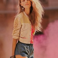 Free People Womens Lacey Reminders Cropped Jacket - Ivory,