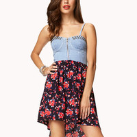 Floral Chambray Combo Dress