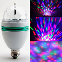 3W E27 RGB Crystal Ball Rotating LED Stage Light Bulb