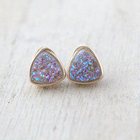 Petite Triangle Druzy Studs  - Frozen Fig