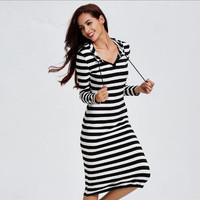 Casual Black And White Hooded Dress 13210