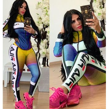 FILA Newest Fashion Women Casual Print Sweater Pants Trousers Set Two-Piece Sportswear Yellow&Blue,