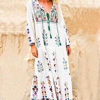 maxi dress floral embroidered long Sleeve white dress Vintage women winter tassel boho chic style dresses brand vestidos 2018