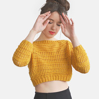 Ready to Ship in Size Small, Crop Top Sweater in Mustard Yellow, Hand Knit Cotton Short Top, Womens Cropped Top  / Hand knitted