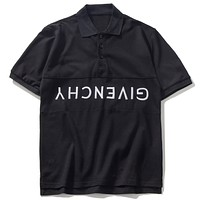 GIVENCHY 2019 new embroidered letter button lapel half-sleeved shirt Black