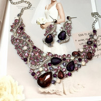 Bridal jewelry set, bib necklace earrings, Modern Contemporary purple rhinestone necklace statement, Deco style Purple crystal jewelry set