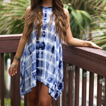 All Tied Dyed Up Blue Sleeveless Dress