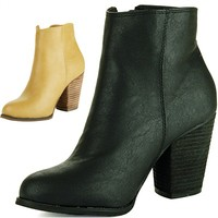 Womens Ankle Boots Chunky Block Heel Bootie Gold Zipper Faux Leather Dress Shoes