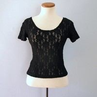black cropped top - 90s vintage sheer floral lace mesh blouse crop goth grunge stretchy short sleeve 1990s see through shirt size xs small