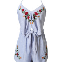 Floral Embroidered Striped Cutout Romper-FINAL SALE