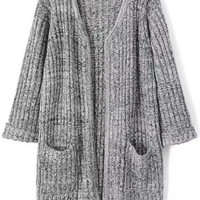 Grey Long Sleeve Knitted Cardigan with Pocket