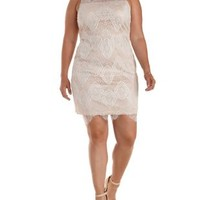 Plus Size White Mesh & Lace Bodycon Dress by Charlotte Russe