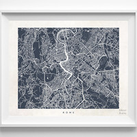 Rome, Italy, Print, Map, Poster, State, City, Street Map, Art, Decor, Town, Illustration, Room, Wall Art, Customize, Dorm, Living Room