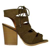 Olive Lace-Up Block Heels