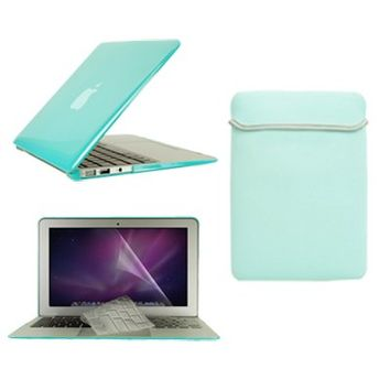 """TopCase Macbook Air 11"""" (A1370 and A1465) 4 in 1 Bundle - Crystal Hard Case Cover + Matching Color Soft Sleeve Bag + Transparent TPU Keyboard Cover + LCD HD Clear Screen Protector With TopCase Mouse Pad (ROBIN EGG BLUE)"""