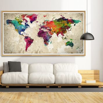 Large Push Pin World Map, Personalized Push Pin Map, USA or World Or Any Country -L1