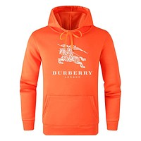 Burberry New fashion letter war horse print hooded long sleeve sweater Orange
