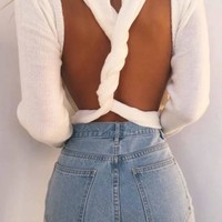 New Women White Cut Out Backless Cross Back Oversize Pullover Sweater