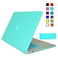iBenzer Soft Touch Plastic Hard Case and Keyboard Cover for Macbook Air 13''( Model A1466/A1369) Turquoise