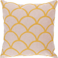 Surya Meadow Overlapping Oval Pillow,  Neutral, Yellow