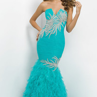 Strapless Ruched and Ruffled Mermaid Dress