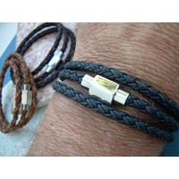 Mens Triple Wrap Braided Leather Bracelet with Stainless Steel Magnetic Clasp