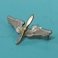 WWII Era Pilot Wings Propeller Pin US Army Air Corps Military Collectible