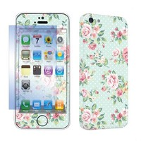 SkinGuardz Protective Vinyl Decal Sticker Skin for Apple iPhone 5C with Screen Protector - (Mint Roses)