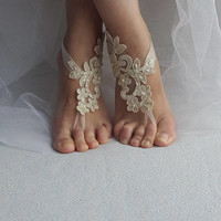 wedding shoes, summer shoes, beach shoes,barefoot sandals,Beaded, champagne  lace  shoes, wedding sandals,bridal accessories, free shipping!