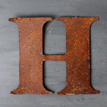 Thin Rusty Capital Letter H, Vintage Industrial Signage, 10 Inches High