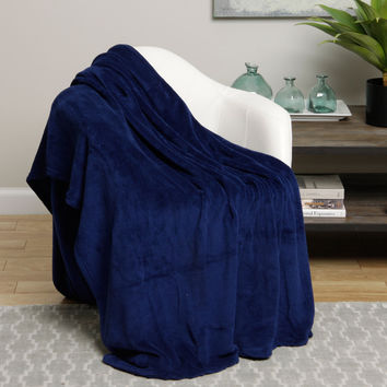 Ultra Plush Navy Design King Size Microplush Blanket