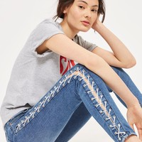 MOTO Mid Blue Side Lace Jamie Jeans