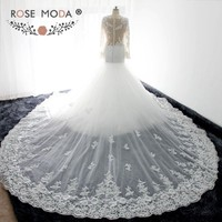 Rose Moda Gorgeous Long Sleeves Lace Mermaid Wedding Dress with Removable Royal Train Illusion Back Real Photos