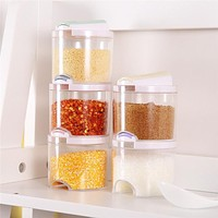 5pcs/Set Plastic Spice Bottles with Lid and Holes Transparent Spice Jar Seasoning Containers Kitchen Condiment Pepper Shakers