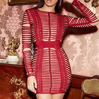 Riza Wine and Nude Bandage Cross Weave Dress