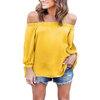 Fashion Ladies Tops Chiffon Women Shirt Blouse Cold Sleeve Slash Neck Shirt Straples Off Shoulder Feminine Blouses LJ4833C