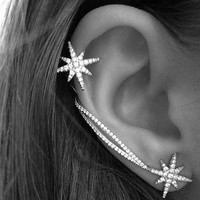 Hot New Fashion Star Clip Earrings For Women Trendy Personality Luxury Ear Cuff earring