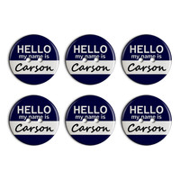 Carson Hello My Name Is Plastic Resin Button Set of 6